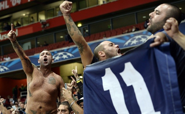 Napoli 'ultras' at Emirates stadium ahead of Champions League clash with Arsenal PIC: Reuters