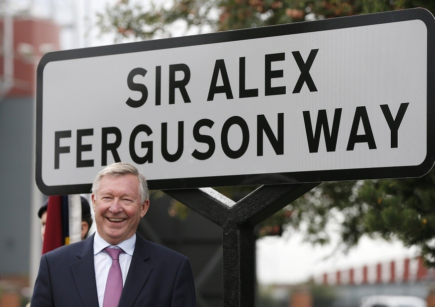 Former Manchester Utd boss Sir Alex Ferguson unveils road named in his honour near Old Trafford PIC: Reuters