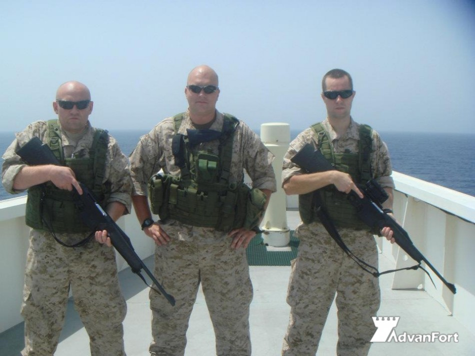 Heavily armed secuirty guards recruited to protect shipping from Somali pirates