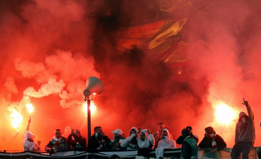 Polish football hooligans make their presence felt at a Legia Warsaw v Lech Poznan match PIC: Reuters