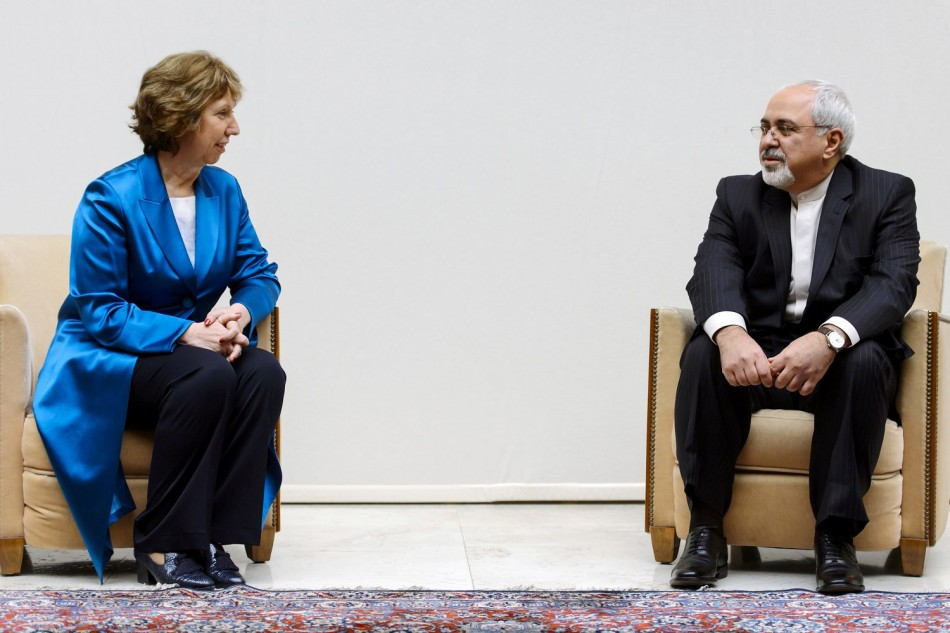 European Union foreign policy chief Catherine Ashton (L) speaks with Iranian Foreign Minister Mohammad Javad Zarif