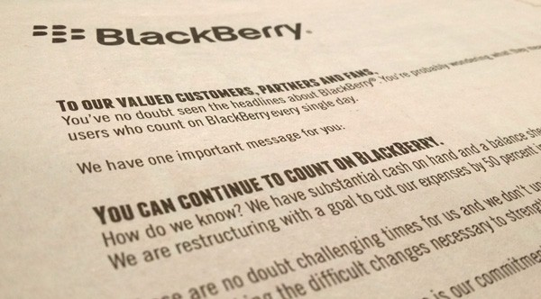 BlackBerry Open Letter to Customers