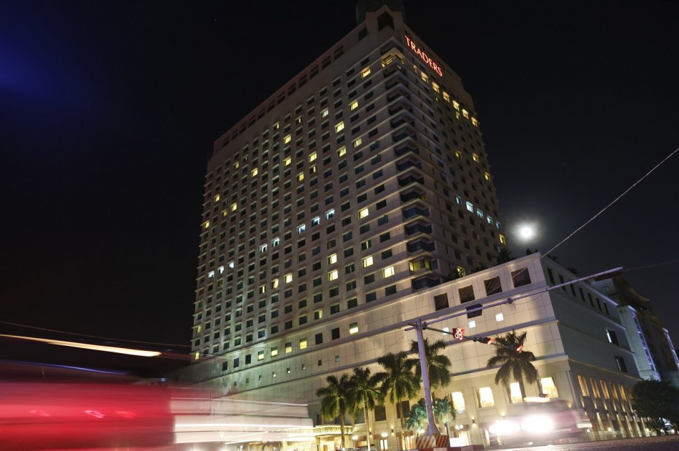 A general view of Traders Hotel in central Yangon, where an explosion occurred, early October 15