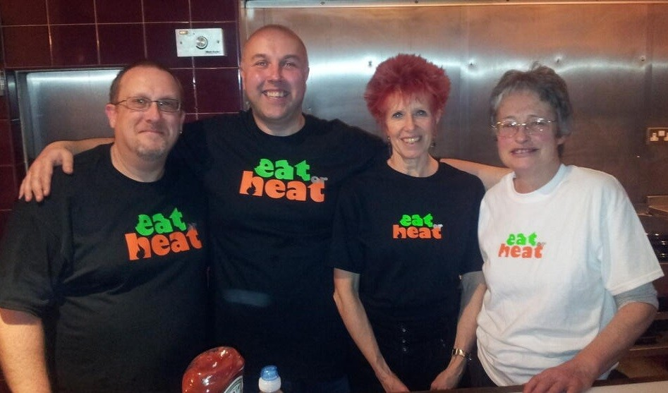 Gary Nash (far left) with volunteers at Heat or Eat in Walthamstow, east London PIC: Gary Nash