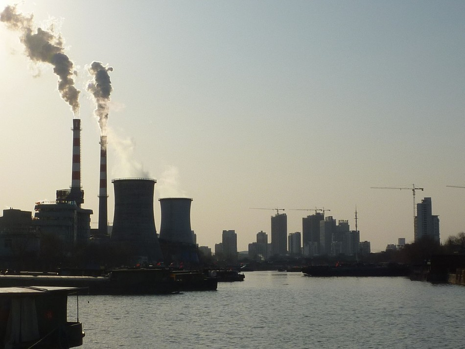 An industrial area, with a power plant, south of Yangzhou's downtown, China