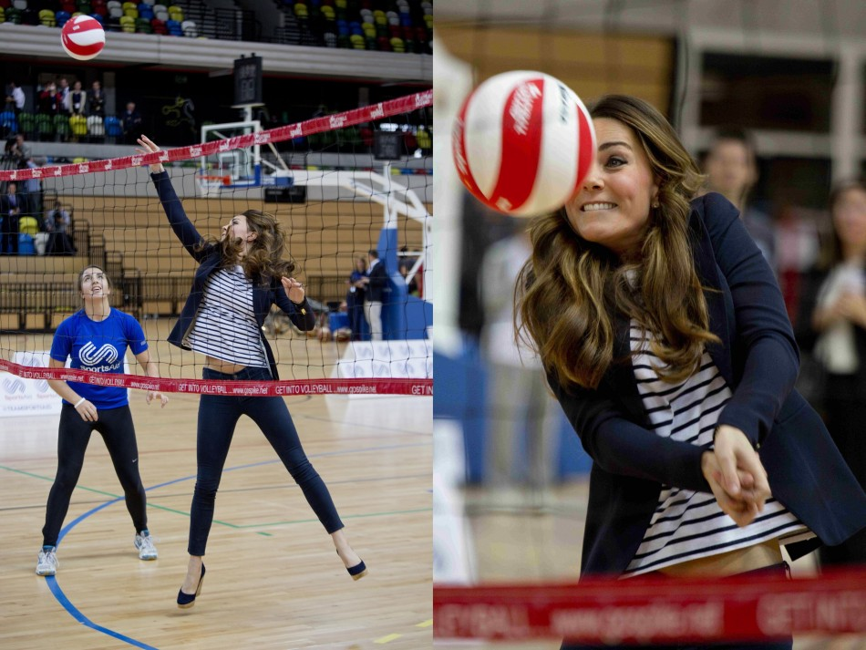 Kate Middleton reunites with her passion for sports as she plays volleyball at the workshop. (Photo: REUTERS)