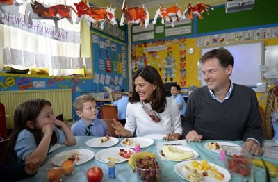 Nick Clegg and wife visiting a primary school
