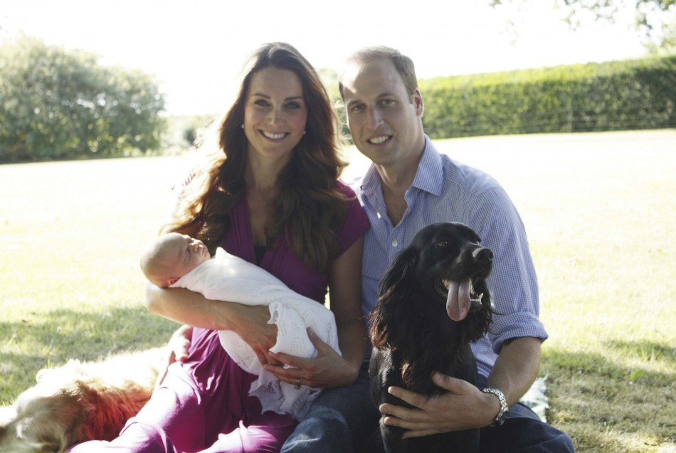 The first official portrait of Prince George and the Duke and Duchess of Cambridge