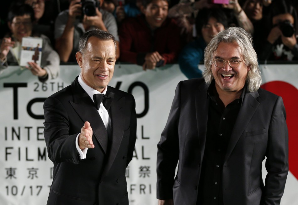 Tom Hanks with Paul Greengrass, director of Captain Phillips