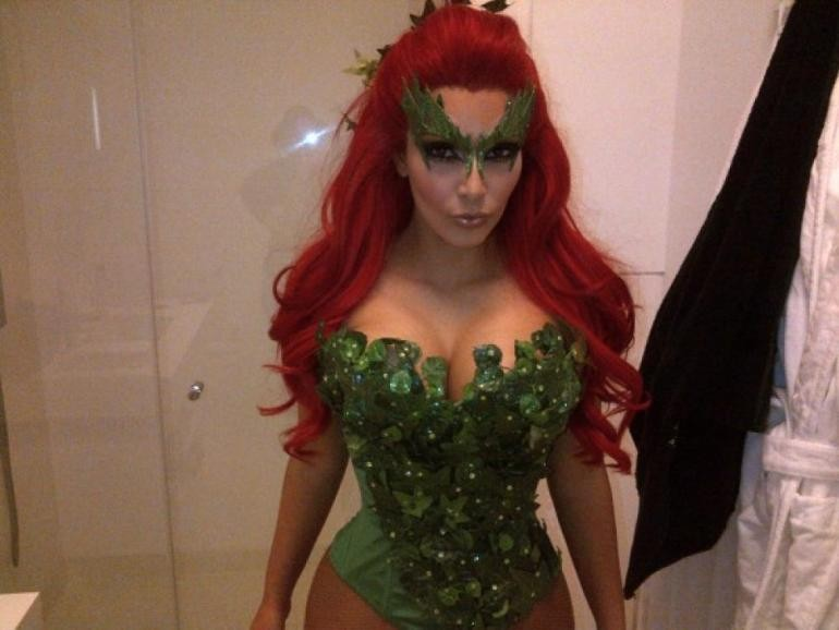 Dressed as Batman's nemesis Poison Ivy [Kim Kardashian/Celebbuzz]