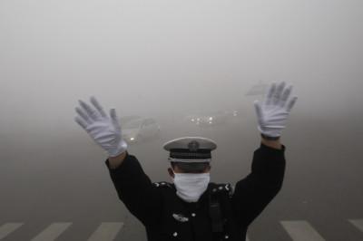 Smog in Harbin, Heilongjiang province