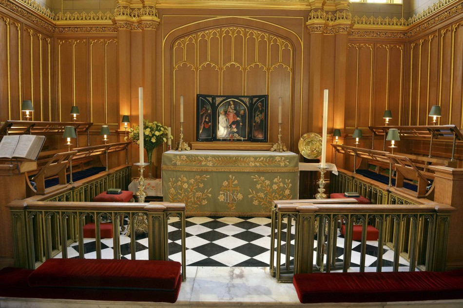 A general view shows the interior of the Chapel Royal at St James's Palace in central London