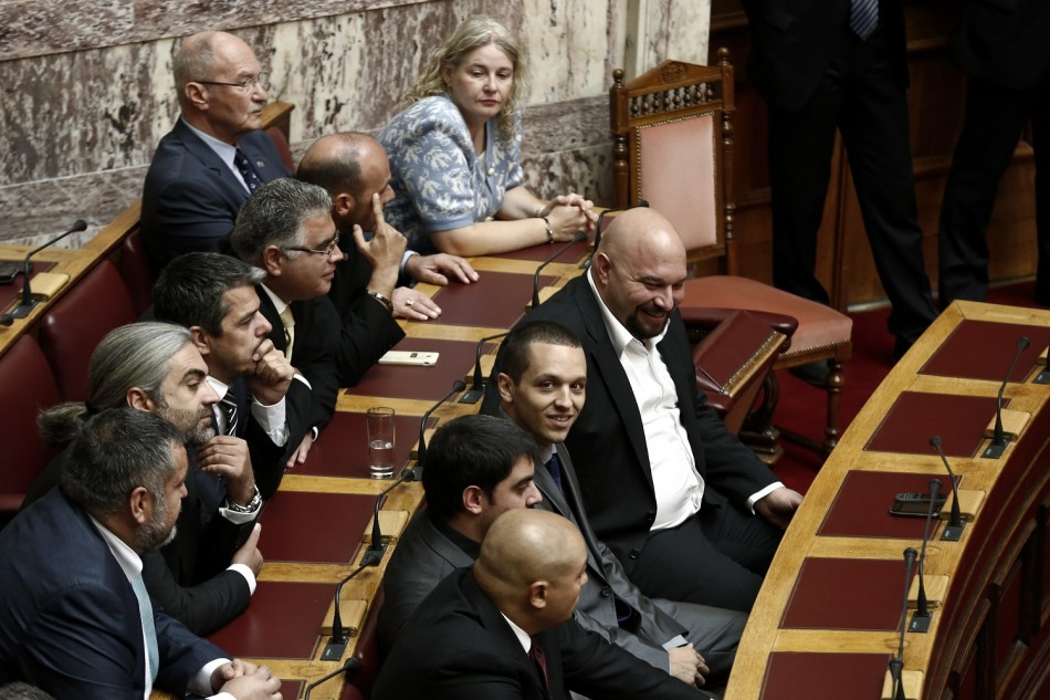 Golden Dawn MPs in Greek parliament
