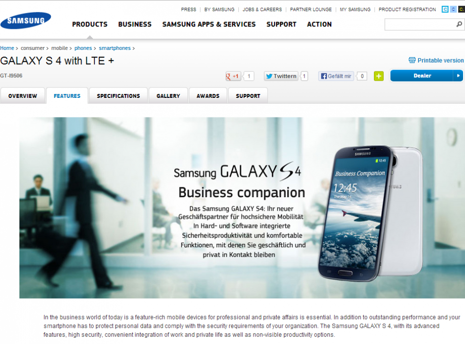 New Galaxy S4 Snapdragon 800 (LTE-A) Spotted on Samsung Germany Website