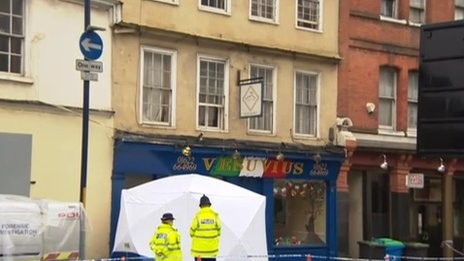 Police outside Vesuvius restaurant in Maidstone, Kent, where Joele Leotta worked PIC: BBC