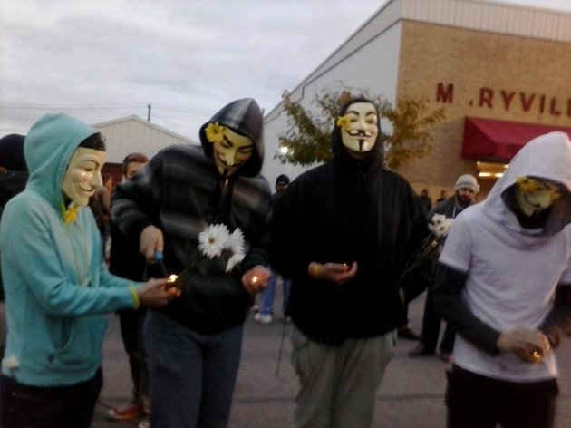 Supporters of the hacktavist group Anonymous also attended
