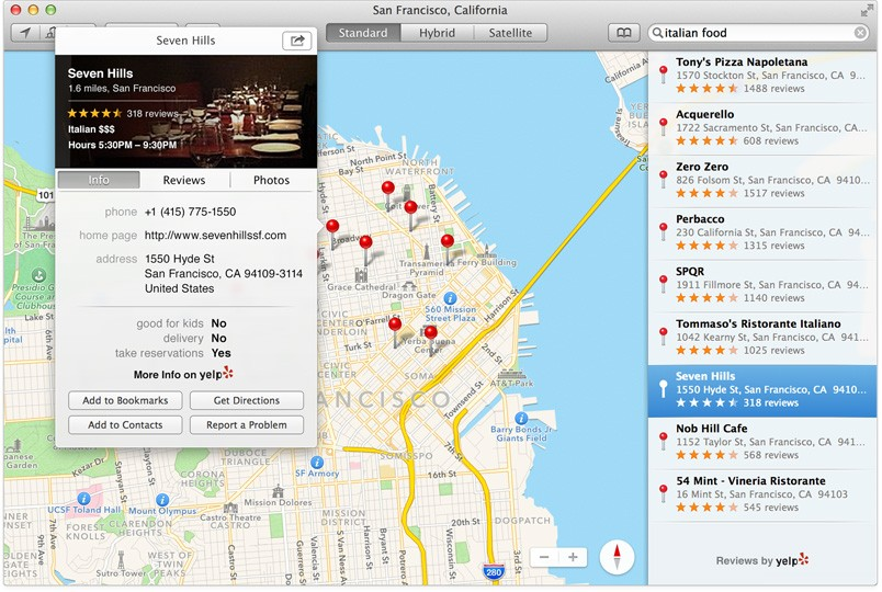 OS X Mavericks Maps