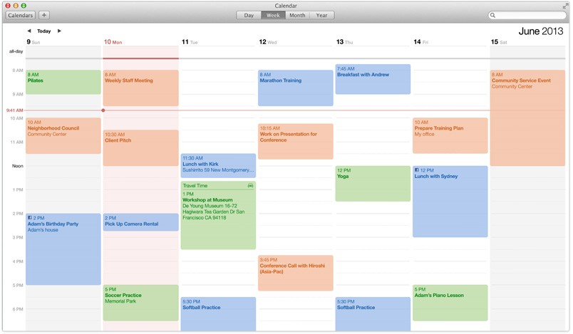 OS X Mavericks Calendar