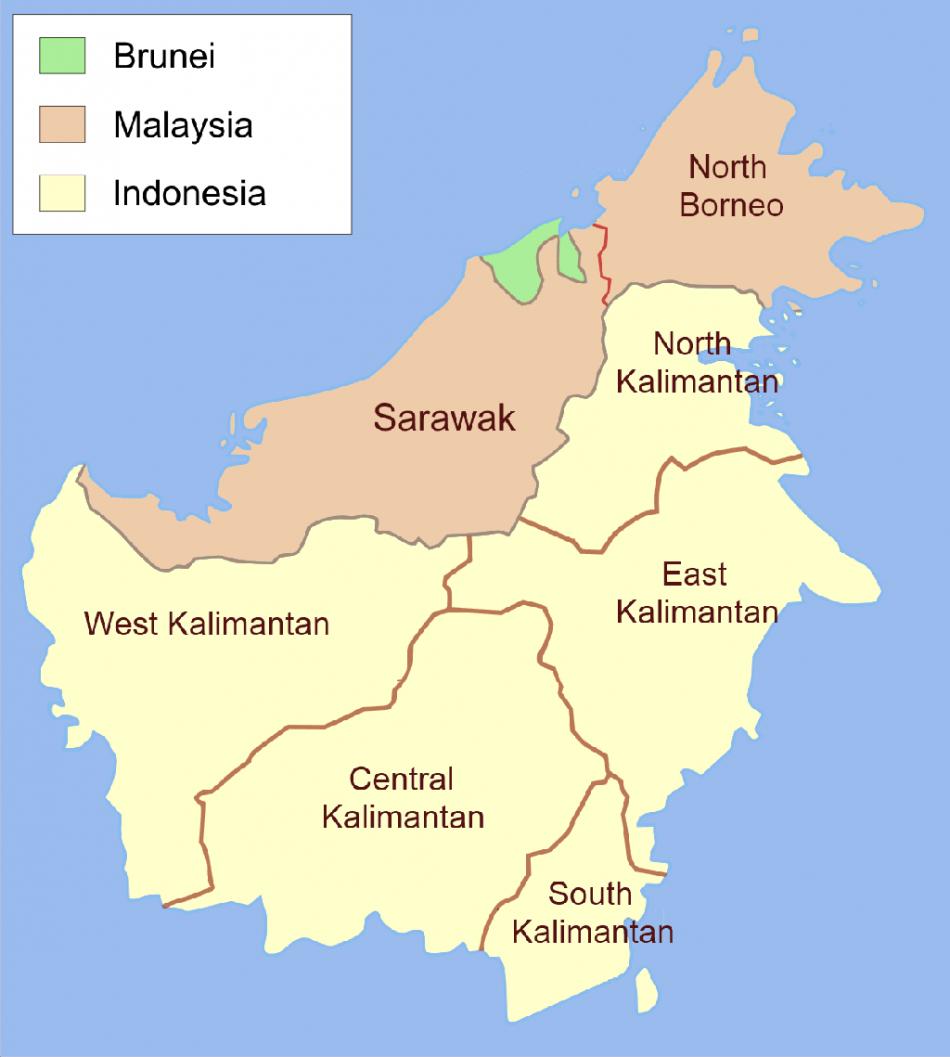 Administrative map of Borneo (Wikimedia/Ranking Update)