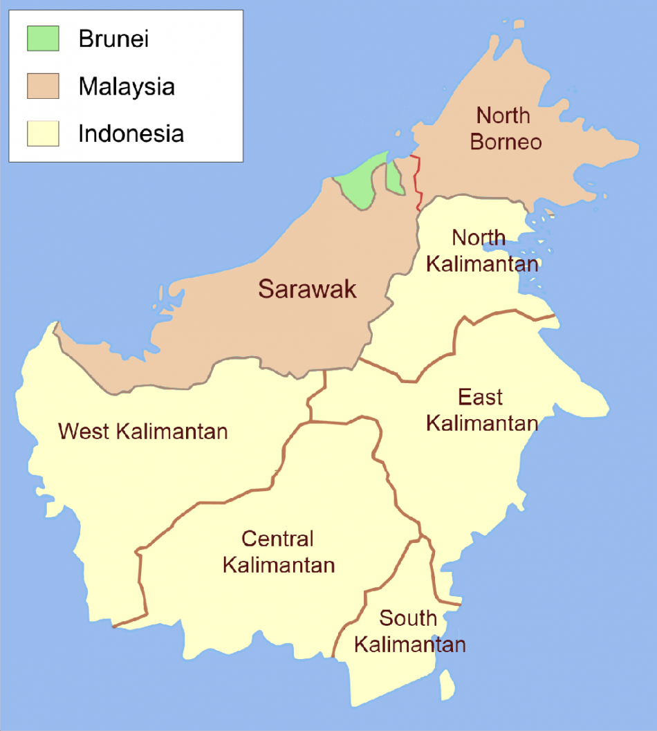 Administrative map of Borneo (Wikimedia/Ranking Update)