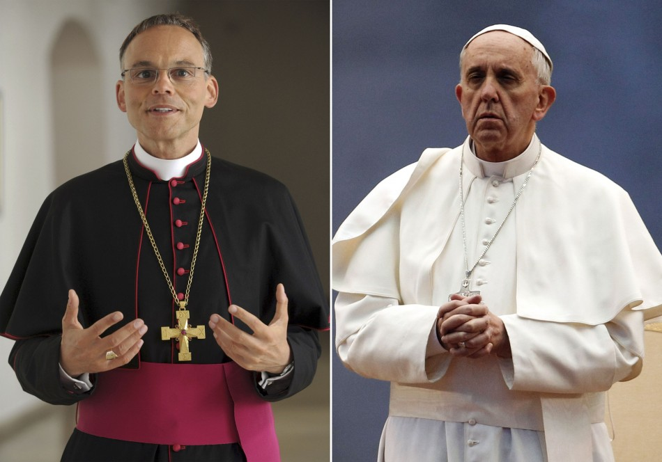A combination photo shows Bishop Franz-Peter Tebartz-van Elst (L) standing in the cloister of the Episcopal Ordinariate in Limburg April 2012, and Pope Francis (R) praying during a ceremony to mark the end of May at St. Peter's square in the Vatican May 3
