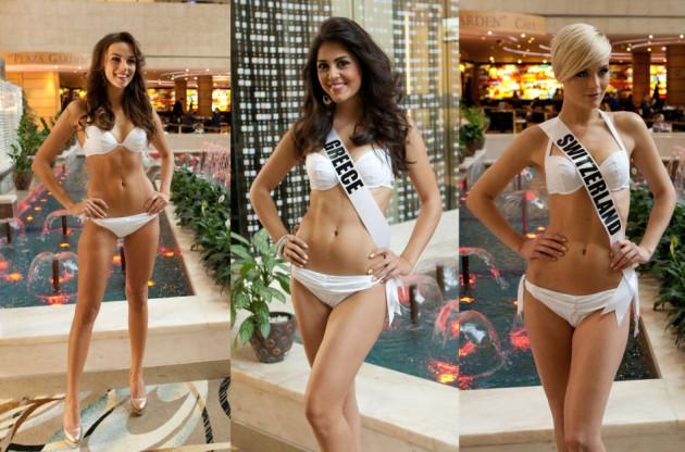 Paulina Krupińska, Miss Universe Poland 2013 (L), Miss Universe Greece and Switzerland strike a pose. (Photo: MIss Universe Organization L.P., LLLP)