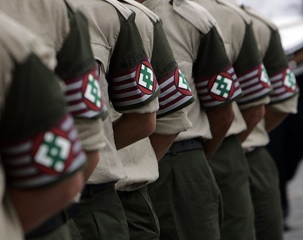 """Members of Jobbik attend the inauguration ceremony of the """"Hungarian Guard"""" in Budapest (Reuters)"""