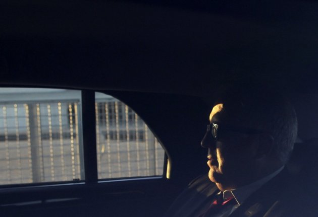 U.S. Ambassador to Brazil Thomas Shannon sits inside a car after a meeting with Jose Elito Carvalho Siqueira, head of the Office of Institutional Security, to discuss over report that citizens' electronic communications have been under surveillance by U.S