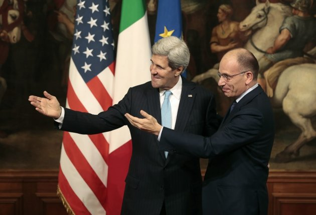Italy's Prime Minister Enrico Letta (R) and U.S. Secretary of State John Kerry