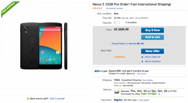 Nexus 5 Release Imminent: Pre-Order Price Spotted on eBay