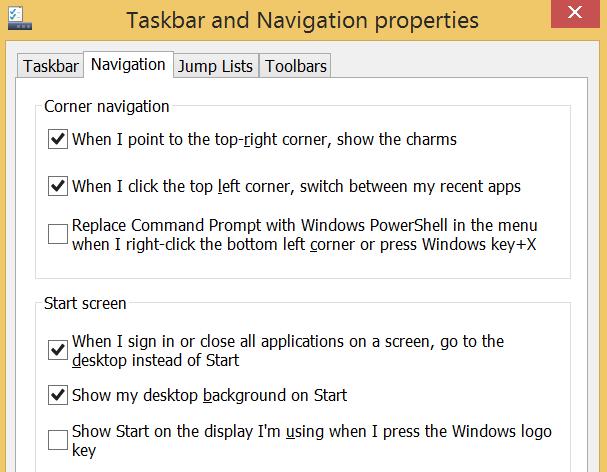 Windows 8.1 Taskbar menu