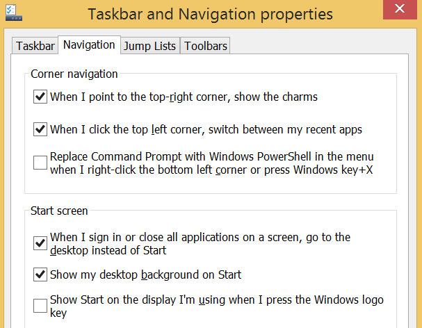 Windows 8.1 Taskbar menu