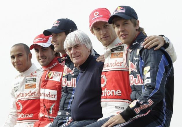 McLaren F1 driver Lewis Hamilton of Britain, Ferrari F1 driver Fernando Alonso of Spain, Red Bull F1 driver Mark Webber of Australia, F1 commercial supremo Bernie Ecclestone, McLaren F1 driver Jenson Button of Britain and Red Bull F1 driver Sebastian Vett
