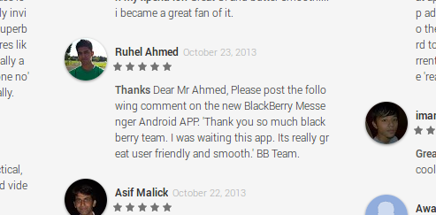 BBM for Android Fake Reviews