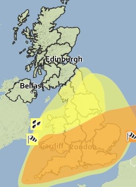 Amber weather warnings to all of southern England and Wales (Met police)