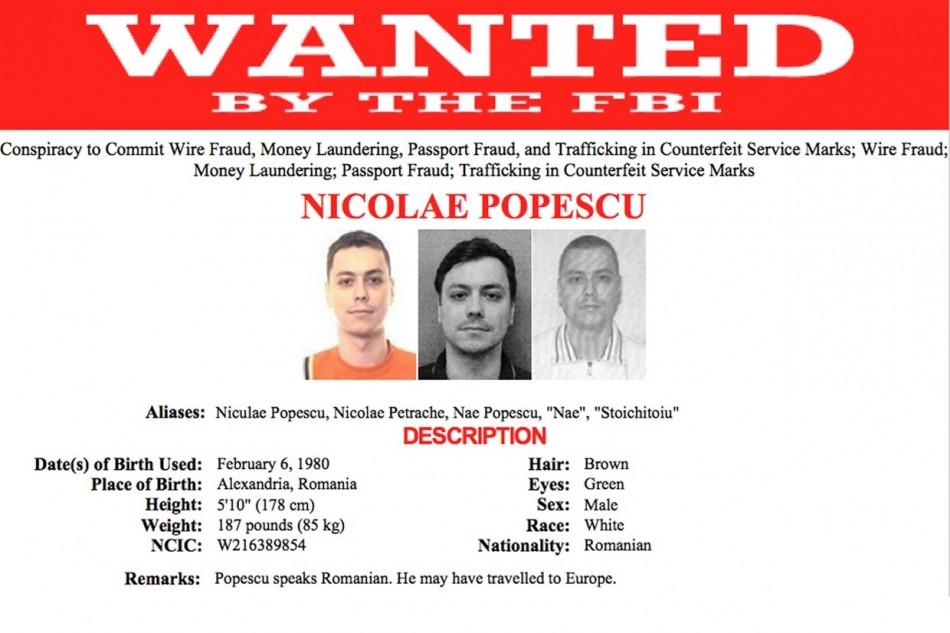Nicolae Popescu, wanted by the FBI