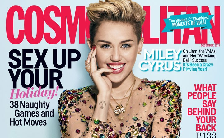 Miley Cyrus is on the cover of Cosmopolitan magazine December issue (Cosmopolitan)
