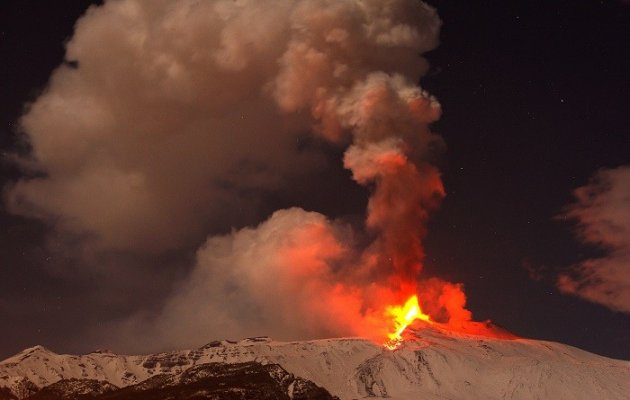 Mount Etna, Europe's tallest and most active volcano, erupts for the 14th time.