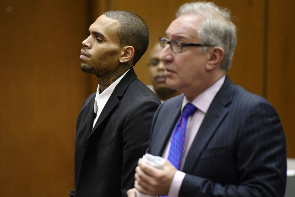 Chris Brown at a probation hearing in August in LA.