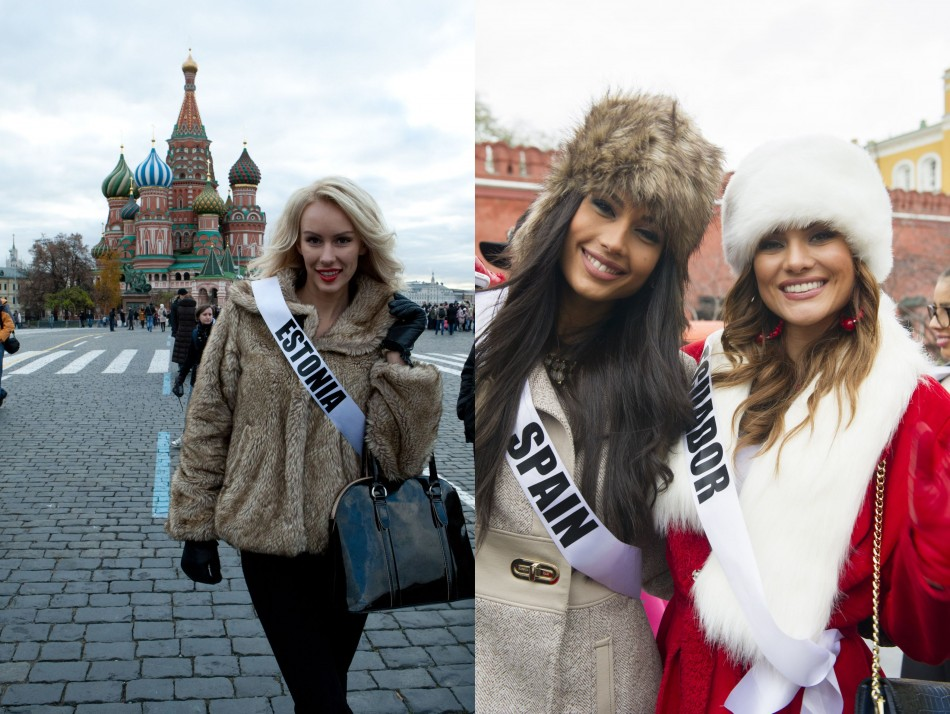 Kristina Karjalainen, Miss Universe Estonia 2013 (Left), at Red Square; Patricia Yurena Rodriguez, Miss Universe Spain 2013; and Constanza Baez, Miss Universe Ecuador 2013 pose n their new hats while at the Kremlin (Photo: Miss Universe Organization L.P., LLLP)