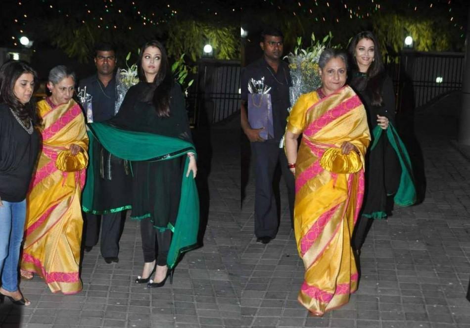 Aishwarya Rai escorts her elderly mother-in-law.  (Photo: AshOfficial/info/Facebook)