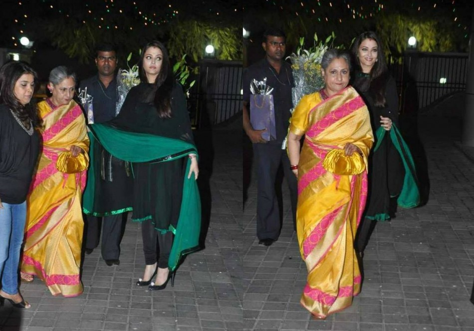 Aishwarya Rai escorts her elderly mother-in-law.  (Photo: AshOfficial/info/Facebook)