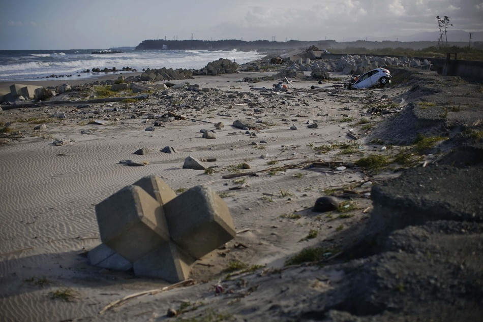 A beach littered with tsunami barriers