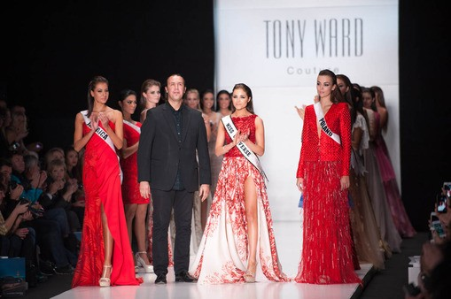 Kerrie Baylis, Miss Universe Jamaica 2013; Fashion Designer, Tony Ward; Olivia Culpo, Miss Universe 2012; and Paulina Krupi?ska, Miss Universe Poland 2013; on the runway at the Tony Ward Fashion Show on October 26, 2013 during Mercedes Benz Fashion Week[M