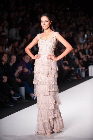 Manasi Moghe, Miss Universe India 2013, walks the runway at the Tony Ward Fashion Show on October 26, 2013 during Mercedes Benz Fashion Week in Moscow, Russia [MissUniverse.com]