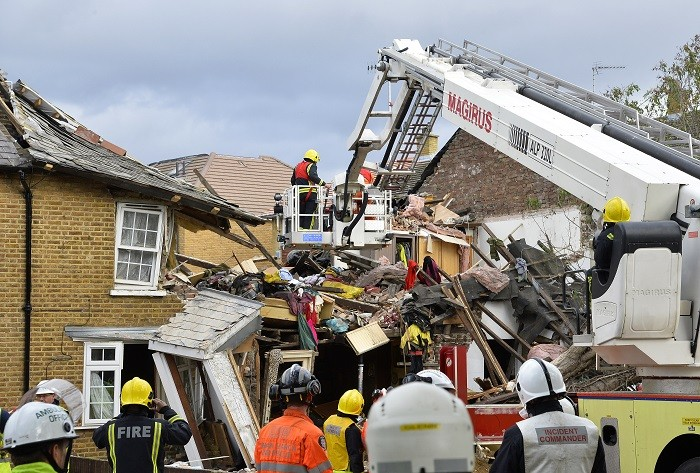 Emergency services work at the scene of a gas explosion at Bath Road in Hounslow, west London (Reuters)