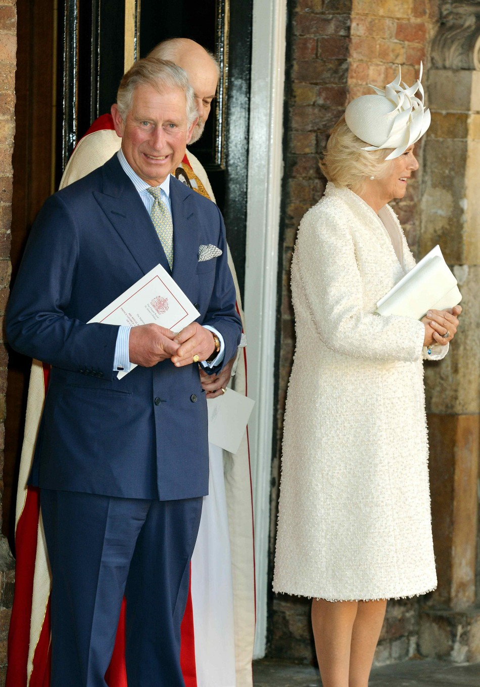 Britain's Prince Charles and His Wife Camilla, Duchess of Cornwall Leave After the Christening of Prince George at St James's Palace in London