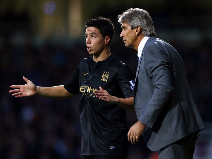 Samir Nasri and Manuel Pellegrini will hopeful of a win against Barcelona.