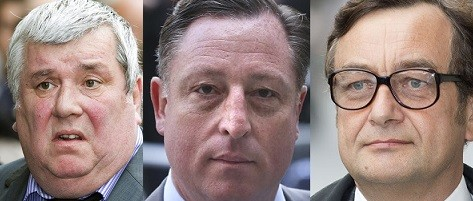 (From Left) Greg Miskik, Neville Thurlbeck and James Weatherup  have all pleaded guilty to phone hacking charges (Reuters)