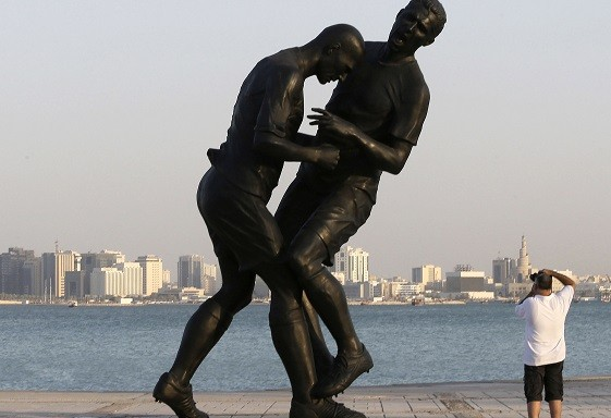 The sculpture, which was bought by the Qatar Museums Authority, has now been removed (Reuters)